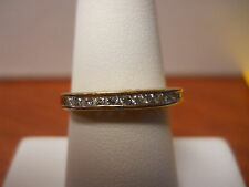 "10K GOLD & DIAMONDS LADIES WEDDING BAND ""I LOVE YOU"" CARVED ON SIDE SZ 8"