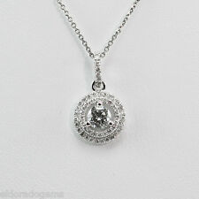 "SOLITAIRE NECKLACE - 0.86 CT. DIAMOND CLUSTER PENDANT 14K WHITE GOLD 18"" CHAIN"
