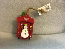 Ganz Snowman Sleigh Sled Ornament Personalized ANGIE ~ Stocking Stuffer ~ Gift