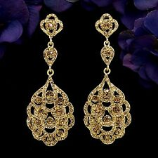 18K Gold Plated GP Golden Crystal Rhinestone Drop Chandelier Dangle Earrings 497