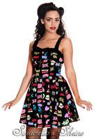 New HELL BUNNY Retro Cartoon HORROR GAL Mini Party Dress! Size S UK 8-12