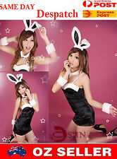 WOMEN Black Sexy Lingerie SILK FEEL Rabbit Costume Fancy Dress Up DANCE PARTY