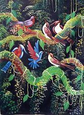 """Haitian Folk art painting famous artist Aland Estime Birds Forest Haiti 30""""X40"""""""