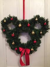 Disney Mickey Mouse Ears Inspired Christmas Wreath Red Gold Baubles Decoration