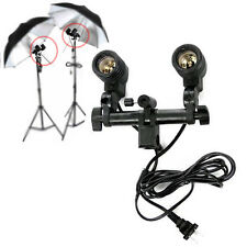 Studio Flash Light Lamp Bulb Twin/Double-Head Holder E27 Socket Umbrella Bracket