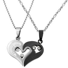 Stainless Steel I Love You Heart Men Women Couple Pendant Necklace Xmas Gift US