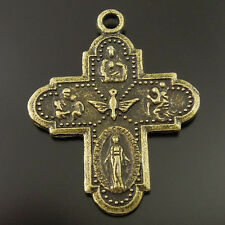 **8pcs Antiqued Style Bronze Tone Alloy Goddess Cross Bless Pendant Charms 36404