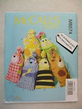 Sacks Bags Frog Dog Cow Bee Cat Monkey sewing pattern M6574 See Full Listing