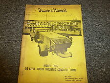 Chain Pump 1535 Truck Mounted Concrete Pump Owner Operator Maintenance Manual