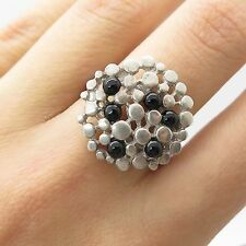 925 Sterling Silver Real Black Onyx Gemstone Ring Size 7 1/4