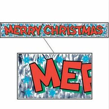 NEW Metallic Silver Merry Christmas Fringe Large X-Mas Snowflake Banner (5 Ft)
