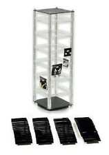 New Clear Rotating Earring Display Stand with 100  2 Inch x 2 Inch Black Cards