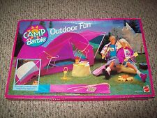 EXTREMELY RARE Camp Barbie Outdoor Fun Tent Campsite Fire New NIB SEALED