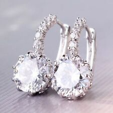 New Women's 18k White Gold  PLATED Gp Clear Swarovski Crystal Zircon Cz Earrings