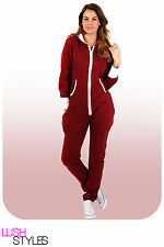 Womens Plain Onesie Ladies All in One Hooded Zip Up Jumpsuit Playsuit S-XL 8-16