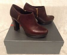 PRADA Brown Calzature Donna Vitello Ankle Platform Heel Boots $598 Sz 40 US 10