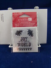 NEW STUDIO G CLEAR STAMP SET JOY TO THE WORLD HOLLY CHRISTMAS HOLIDAY VC0057
