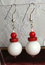 Nautical earrings with colorful beads red and white beads earrings UK designer