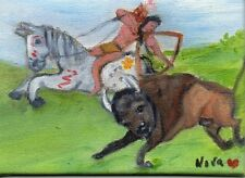 ACEO Orig Art Oil painting Native American Indian Brave Horse Buffalo Nova Hart