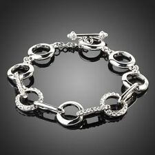 Stylish Sparkly Silver Clear White Rhinestone Crystal Round Link Chain Bracelet