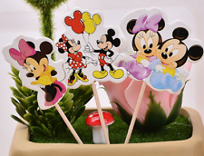 24 PCS MICKY AND MINNIE MOUSE CUPCAKE TOPPERS  KIDS PARTY SUPPLIES BIRTHDAY