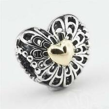 genuine sold silver Vintage Filigree heart gold Heart openwork charm bead