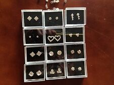 JOB LOT-12 pairs of 12 different styles crystal diamonte stud earrings.Gift box.