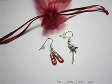 Dorothy Wizard of Oz inspired earrings with red shoes and fairy wand cute gift
