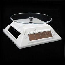 Watch Jewelry Solar Powered Rotating Rotary Display Stand Turntable Plate White