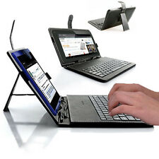 7in Tablet PC Phablet Protective Case Cover FULL Keyboard Stand Black PU Leather