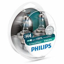 Philips Xtreme Vision +130% More Light H4 Headlight Bulbs (Twin Pack of Bulbs)
