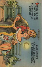 Love Is A Game Played on a Bench - Large Breasted Woman Curt Teich Postcard