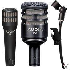 Audix D6 i5 Kick Snare Guitar Bass Drum Microphones and DVice Mic Clip Bundle