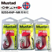 Bulk 3 Pack Mustad Big Red Hooks Size 8/0 - 92554NPBLN - 2X Chemically Sharpened