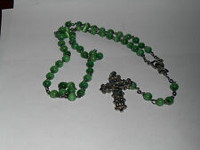 Jade Colored Glass Rosary Beads EXCELLENT CONDITION NO REPAIRS FREE SHIPPING