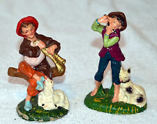 Scottish Boy Piper on Flute w/Dog at His Side & Sheep Herder on Bagpipes Figures