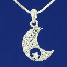 W Swarovski Crystal Moon Star Pendant Necklace Charm Jewelry Gift