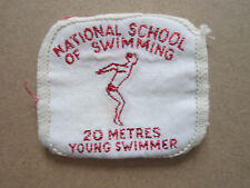 National School Of Swimming 20 Metres Young Swimmer Woven Cloth Patch Badge