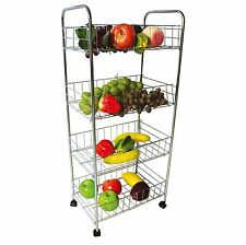 4 Tier Chrome Fruit Vegetable Rack W/Wheels Storage Stand Cart Trolley Kitchen