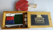 Desktop Tennis Game - New With Wooden Slide-Shut Case