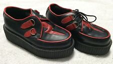 DEMONIA 409 Leather Black-Red Volt Creeper Platform Shoes sz 4 mens 6 woms