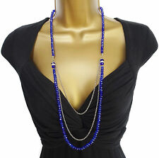 "Stunning Sparkly Royal Blue Bead Layered Necklace with Crystal Rondels 32"" Long"