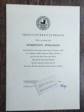 Official FREE UNIVERSITY BERLIN Certificate 1966