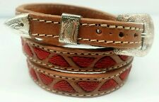 NEW HATBAND BROWN Leather w RED TRIANGLE Embroidery & Buckle Set Cowboy Hat Band
