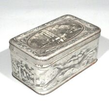 Antique French Tin Box, Nude Swimmers, Putto, Landscape with Lake, Signed, Lyon