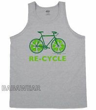 Recycle Bike Large Tank Top Bicycle Sign Green Sleeveless Gray