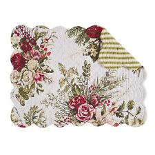 "Set of 4 Pcs, 13x19"" Quilted Placemat, Jardin Rouge,862621721"