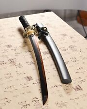 full tang forged black t10 clay tempered blade japanese wakizashi real hamon