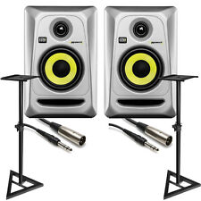 KRK RP4G3 ROKIT 4 G3 Active Studio Monitor Speaker Pair Silver + Stands + Cables