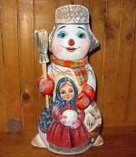 Original Russische, handbemalte Figur Schneemann & süß Winter Girl Weihnachten